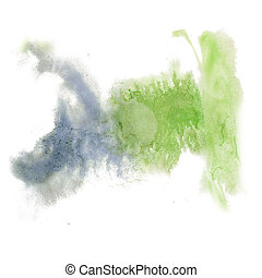 paint splash color ink watercolor blue green isolated stroke...