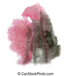 paint black pink splash color ink watercolor isolated stroke...