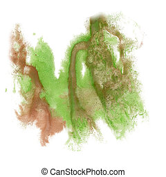 paint splash color ink watercolor isolate stroke green brown...