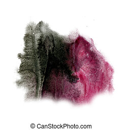 paint Red Black splash color ink watercolor isolated stroke...