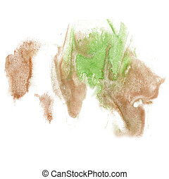 paint splash green brown color ink watercolor isolated...