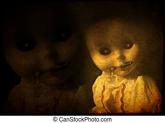 Grunge background with vintage evil spooky doll with zipped mouth