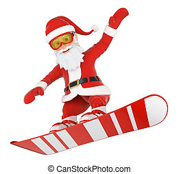 3D Santa Claus snowboarding jumping - 3d christmas people...