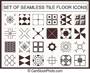 Set of seamless tile floor icons - Collection of seamless...