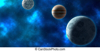 Planets over the nebula. 3D rendering