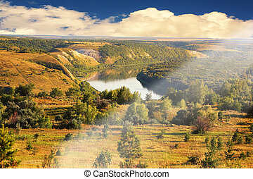 summer landscape river Don in the forest steppe zone Russia...