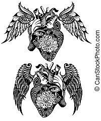 Decorative Human heart tattoo