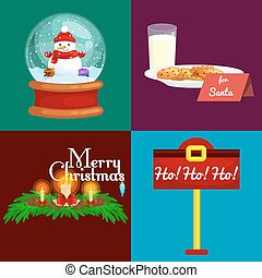 set of greeting cards Merry Christmas and a Happy New Year with candles in spruce branches, milk and cookies for Santa Claus in the snow globe snowman and gifts vector illustration