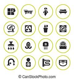 Set round icons of bathroom