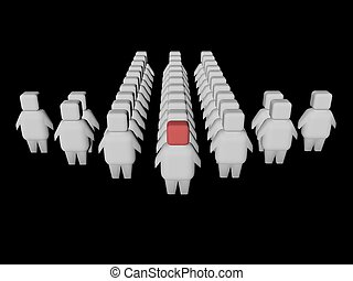 Conceptual image of people moving toward the goal. 3d render.