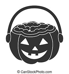Halloween bucket icon in black style isolated on white...