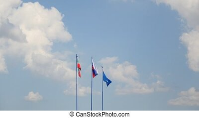 Flags of Russia, Tatarstan and Dosaaf hoisted in front of...