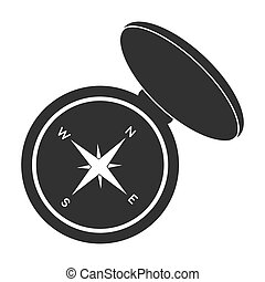 Compas icon in black style isolated on white background....