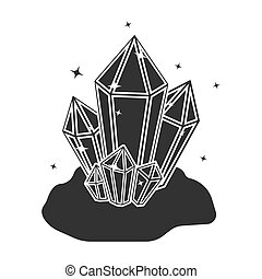 Crystals icon in black style isolated on white background....