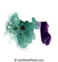 splatter ink green purple watercolour dye liquid watercolor...