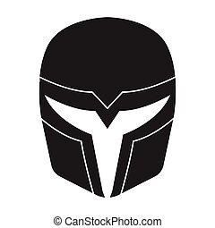 Superhero's helmet icon in black style isolated on white...