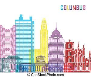 Columbus skyline pop in editable vector file