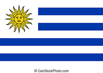 Uruguay Flag - Sovereign state flag of country of Uruguay in...