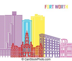 Fort Worth skyline pop in editable vector file