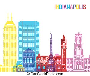 Indianapolis skyline pop in editable vector file