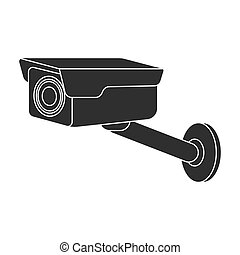 Hidden camera icon in black style isolated on white...