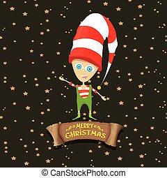 vector cartoon cute merry Christmas elf on brown background...