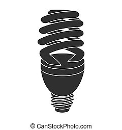 Fluorescent lightbulb icon in black style isolated on white background. Light source symbol stock vector illustration