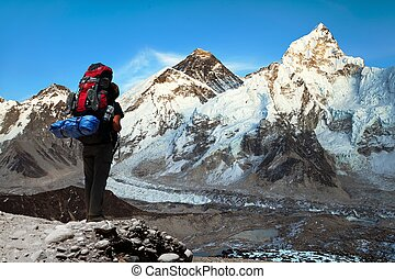 Evening view of Mount Everest with tourist - Evening view of...