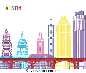 Austin skyline pop in editable vector file