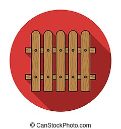 Fence icon in flat style isolated on white background....