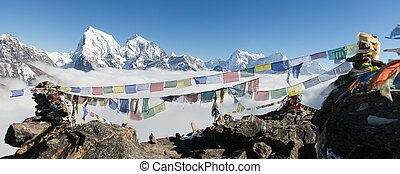 view from Gokyo Ri with prayer flags - view from Gokyo Ri to...