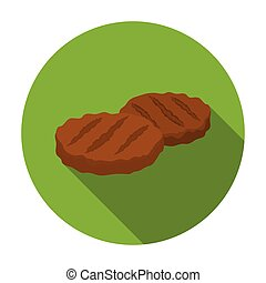 Grilled patties icon in flat style isolated on white...