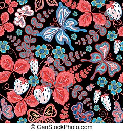 Seamless berries, flowers and butterflies. Hand-drawing vector illustration.