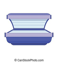 Tanning bed icon in cartoon style isolated on white background. Skin care symbol stock vector illustration.