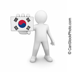 Man and South Korean Flag. Image with clipping path.