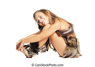 Little girl in the furs as a prehistoric