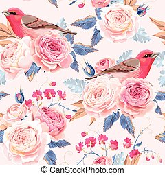 Seamless vintage roses - Vintage roses and birds vector...