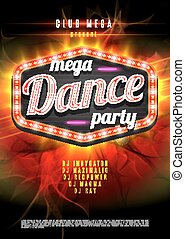 Patry Dance retro display board with lights. Vector Background for flyer or poster