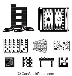 Board games set icons in black style. Big collection of...