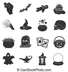 Black and white magic set icons in black style. Big...