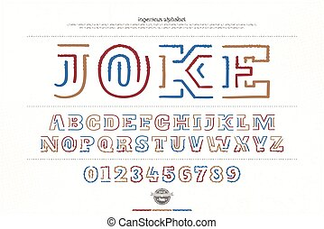 joke - ethnic style alphabet letters and numbers over paper...