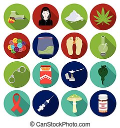 Drugs set icons in flat style. Big collection of drugs...