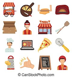 Pizza and pizzeria set icons in cartoon style. Big...