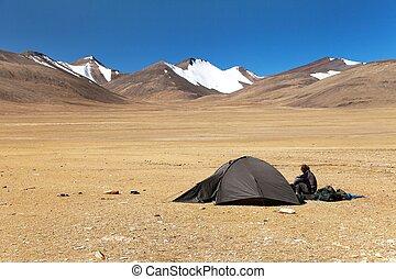 Tent in Himalayan mountains - near Tso Moriri lake in Rupshu...