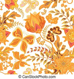 Seamless hand draw butterfly with floral pattern on white background