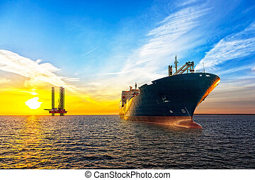 Ship and Oil Platform - Tanker ship and Oil Platform on...