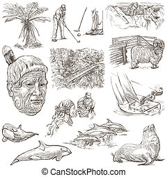 New Zealand. Pictures of Life. Freehand set. An hand drawn...