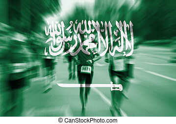 Marathon runner motion blur with blending  Saudi Arabia flag