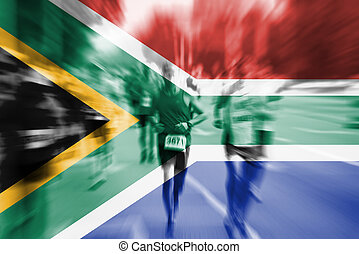 Marathon runner motion blur with blending  South Africa flag