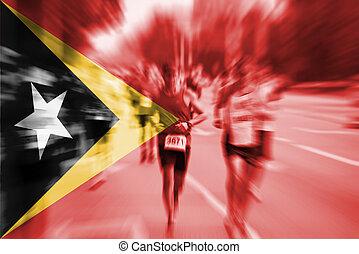 Marathon runner motion blur with blending  Timor-Leste flag